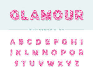 Glitter confetti pink font isolated on white. Glamour alphabet for Valentine s day, birthday design. Girly.