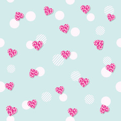 Girly seamless pattern with glitter confetti hearts on pastel blue. For birthday, fashion and wedding design. Vector EPS10.