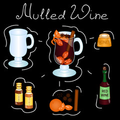 Mulled wine Cocktail ingredients isolated vector colorful illustration