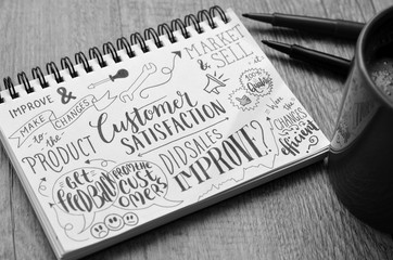CUSTOMER SATISFACTION Sketch Notes on notepad on desk