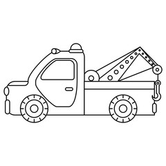 Towing truck for transportation emergency cars. Illustration isolated on white background