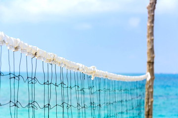 Close up to the net on blue sea background
