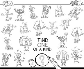 one of a kind game with clowns coloring book