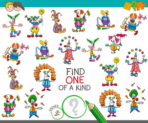 find one of a kind game with clown characters