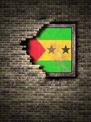 Old Democratic Republic of Sao Tome and Principe flag in brick wall