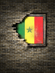 Old Senegal flag in brick wall