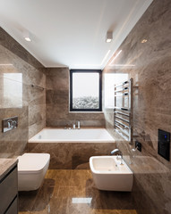 Luxurious marble bathroom with window