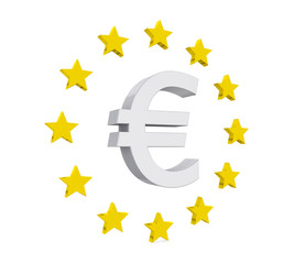 Euro Sign with Stars Isolated