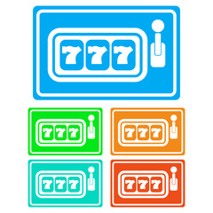 Colorful, flat slot machine icon (white silhouette). Five color variations. Isolated on white