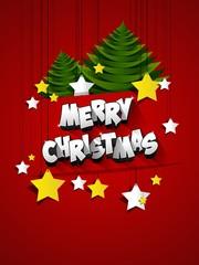 Merry Christmas celebration greeting card design vector illustration