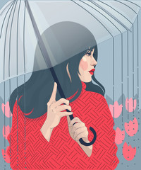 vector fashion illustration of a girl in a red sweater and lipstick under an umbrella, on a background of tulips, spring rain