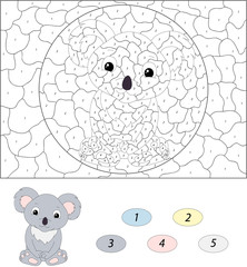 Cartoon koala. Color by number educational game for kids