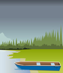 Boat on the shore of the lake and the forest