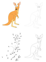 Cartoon kangaroo. Dot to dot game for kids
