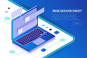 Isometric Training, Online Learning, Webinar, Online Education, Business Training. Flat Vector Illustration Knowledge Expertise Intelligence Learn Concept