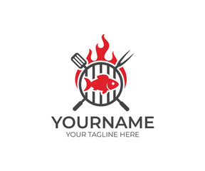 BBQ and fish with fire logo template. Grill and fish meat with fork and spatula vector design. Fast food and fishing illustration