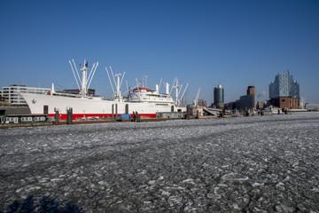 bright sunny winter day in Hamburg, Germany