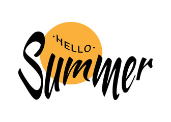 Black Vector Lettering Hello Summer with yellow sun circle isolated on white background.  Fun summer typographic design logo for t-shirt, poster, flyer. Vector illustration.