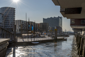 bright sunny winter day in Hamburg, Germany