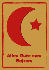Greeting card to Eid Mubarak with text in German, (All the best) and Albanian (Bajram). vector
