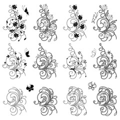 Set of floral and butterflies design elements
