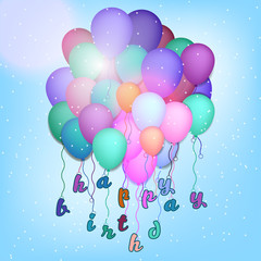 Happy Birthday Illustration for greeting cards and poster with balloon
