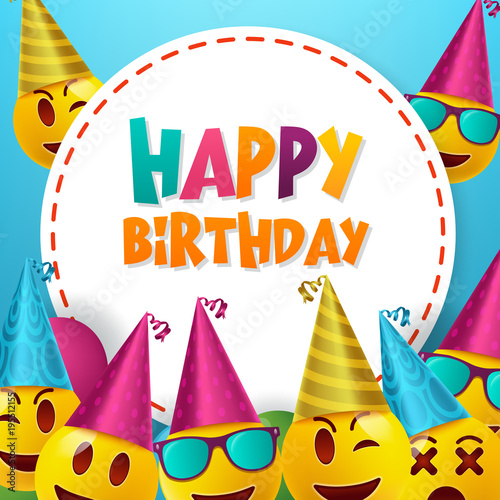 Happy Birthday Vector Design With Smileys Wearing Hat In White Empty Space For Message And