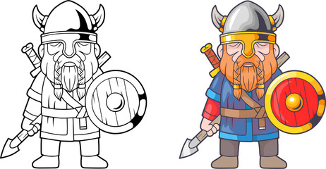 cartoon funny viking, coloring book