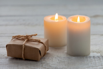 Gift box and candles