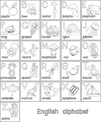 Coloring page. English alphabet with pictures and titles for children education
