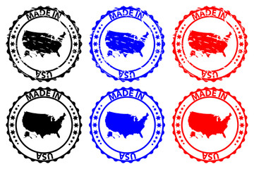 Made in USA - rubber stamp - vector, United States of America map pattern - black, blue and red