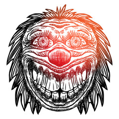 Blackwork adult flesh tattoo concept of devil clown head inspired by nightmare and satanic influence. Scary clown face with smile. Possessed by demon smiling mascot. Vector.