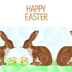 Happy easter border seamless background hare with easter eggs and grass polygons vector Illustration for use in interior design, artwork, dishes, clothing, packaging, greeting cards