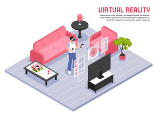 Virtual Reality Isometric Poster