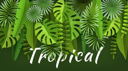 Tropical leaves and plants. Green abstract background with tropical foliage. Cut paper. Vector illustration