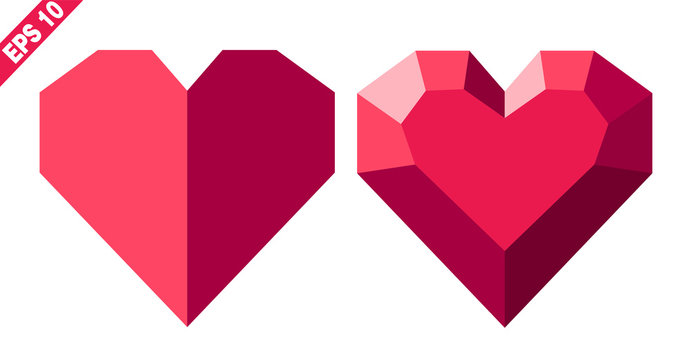 red heart in geometric style with faces (isolated image without background). Icon, logo, sign, symbol