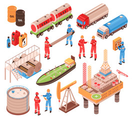 Oil Gas Isometric Icons