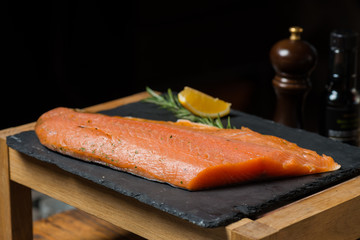 Smoked salmon on the plate