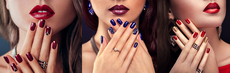 Beautiful woman with different make-up and manicure. Three variants of stylish looks