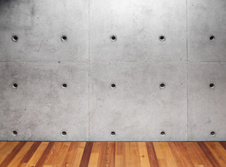 Wall Mural - Concrete wall and wooden parquet floor