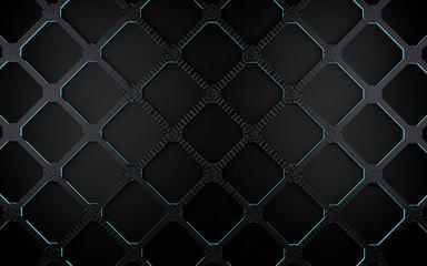 Fondo de rejilla y formas geometricas.Patron de celdas.Diseño moderno en tonos oscuros