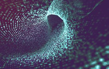 Fondo de tunel abstracto con esferas y ondas.Concepto de big data e informatica.Diseño de tecnologia y ciencia