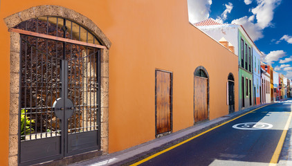 Travel and tourism  in Spanish rural villages.Homes and street.Canary Islands.Tenerife,La laguna village.Travel and tourism in Canaries