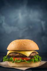 fresh and delicious Burger closeup