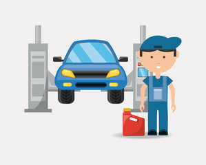 Car service design with Car on the lift and cartoon mechanic over white background, colorful design vector illustration