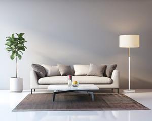 Classic elegant luxury grey interior with a beige sofa