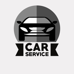 Car service design with car icon over gray background, vector illustration