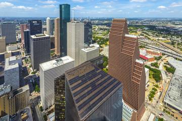 aerial of modern buildings in downtown Houston