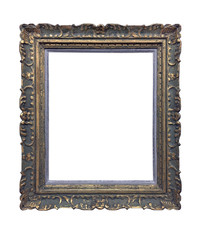 Silver vintage picture frame isolated on white background