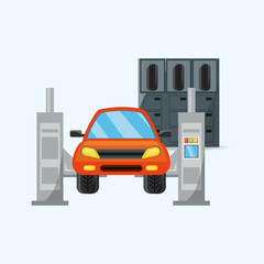 car on the lift at the repair garage over blue background, colorful design vector illustration